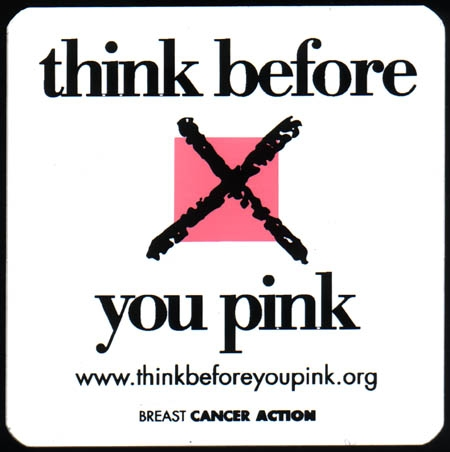 """Breast Cancer Action's """"Think Before You Pink"""" logo"""
